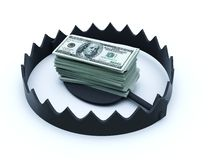 Trap with batch of dollars Stock Photo