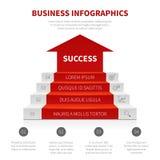 Trap, bedrijfsladder, niveaus van succes vector modern infographic, het winnen concept stock illustratie