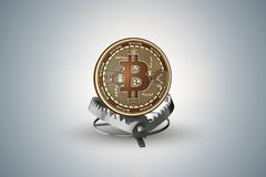 The trap with bitcoin in dangers of cryptocurrencies concept - 3d rendering Royalty Free Stock Images