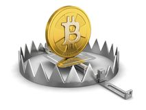 Trap and bitcoin. Image with clipping path Stock Photography