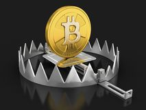 Trap and bitcoin. Image with clipping path Royalty Free Stock Images