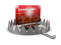 Trap and Credit Card (clipping path included) Royalty Free Stock Images