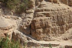Trap in de Rots in de Oase van Ein Gedi Stock Foto's