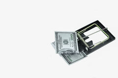 Trap with dollar bills isolated over white background, Risk in business, Businessman taking money from a mousetrap Stock Image