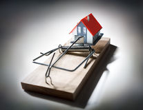 Trap estate - risk of mortgage stock images