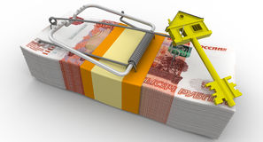 Trap estate. Risk on mortgage on house Royalty Free Stock Photo