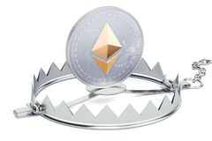Trap with ethereum, 3D rendering. Isolated on white background Royalty Free Stock Photo
