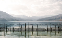 Trap in the form of a fishing net. Trap in the form of a fishing net tense through the mountain lake Pheva in the Himalayas, fencing off part of lake Stock Images