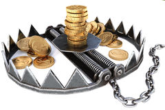 Trap. With gold coins. isolated on white background Royalty Free Stock Images