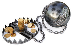 Trap. With gold coins. isolated on a white background. 3D illustration Stock Images