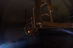 Trap hanging in dimly lit basement in a Halloween concept. Trap hanging in dimly lit basement in a Halloween horror concept Royalty Free Stock Photos