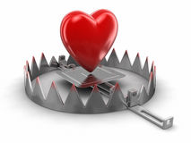 Trap and heart (clipping path included) Stock Photo