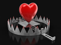 Trap and heart (clipping path included) Royalty Free Stock Photo