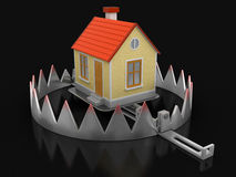 Trap and House (clipping path included) Stock Photography