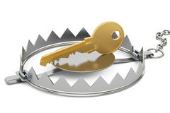 Trap with key, 3D rendering. On white background Stock Images
