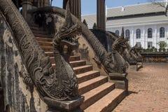 Trap met nagastandbeelden wordt verfraaid in de tempelhagedoorn Phra Kaew van Vientiane, Laos dat royalty-vrije stock afbeelding