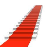 Trap met rood tapijt Stock Afbeeldingen
