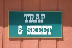 Trap & Skeet Sign. Photographed at a local trap and skeet range in Florida Stock Photo
