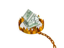 Trap with a small house made of money. Royalty Free Stock Photo
