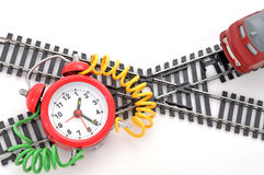 Trap time. Train and time bomb on the white background. Robbery Concept royalty free stock image