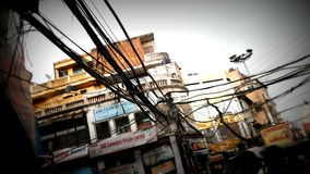 Trap of Wires. Hanging wires in Old Delhi Royalty Free Stock Image