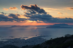 Trapani and Aegadian islands at sunset Stock Photo