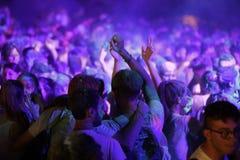 Trapani, Cornino - 07/27/2017: Lato festiwale i plenerowi koncerty obrazy royalty free