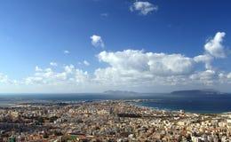Trapani - Egadi islands. Views over the city of Trapani and the Egadi Islands - Sicily Royalty Free Stock Photos