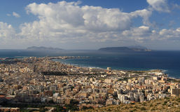 Trapani and Egadi islands. Views over the city of Trapani and the Egadi Islands - Sicily Stock Image