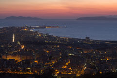 Trapani och Egadi öar på natten Royaltyfri Bild