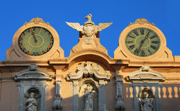 Trapani's Town Hall clocks Stock Photography