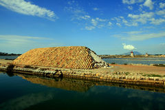 Trapani salt mills & basins, Sicily stock photography