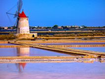 Trapani salt pans. Salt pans and a nature reserve at Mozia, near the town of Trapani in Sicily, Italy stock image