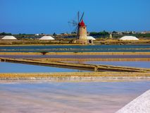 Trapani salt pans. Salt pans and a nature reserve at Mozia, near the town of Trapani in Sicily, Italy stock images
