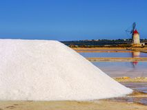 Trapani salt pans. Salt pans and a nature reserve at Mozia, near the town of Trapani in Sicily, Italy royalty free stock photo