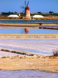 Trapani salt pans. Salt pans and a nature reserve at Mozia, near the town of Trapani in Sicily, Italy royalty free stock images