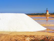 Trapani salt pans. Salt pans and a nature reserve at Mozia, near the town of Trapani in Sicily, Italy stock photos