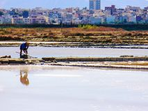 Trapani salt pans. Salt pans and a nature reserve at Mozia, near the town of Trapani in Sicily, Italy stock photo