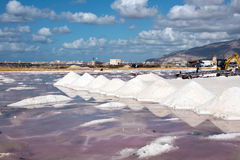 Trapani, salt production to extract of sea water Stock Photo