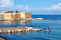 Trapani seafront, fishing boats at Bastione Conca Royalty Free Stock Photo