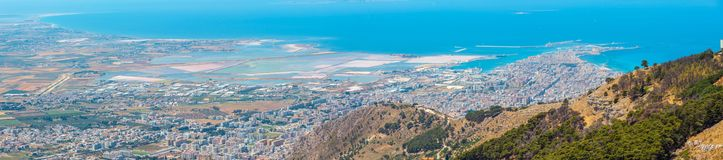 Trapani view from Erice, Sicily, Italy Stock Photos