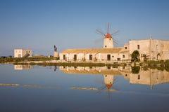 trapani windmill Arkivfoto