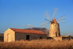 trapani windmill Royaltyfria Foton