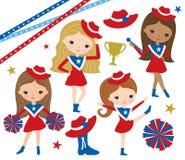 Trapano Team Cheerleader Girl Vector Illustration illustrazione di stock