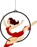Trapeze artist. With a hoop Stock Image