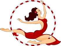 Trapeze artist. With a hoop Royalty Free Stock Photos