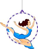 Trapeze artist. With a hoop Stock Images