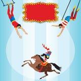 trapeze för deltagare för inbjudan för födelsedagcirkusflyg vektor illustrationer