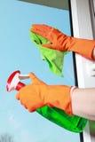 Trapo con guantes y espray de la ventana de la limpieza de la mano Foto de archivo