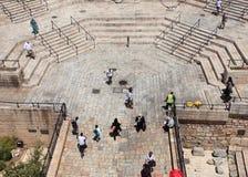 Trappa av den Damascus porten från vallar Arkivfoto
